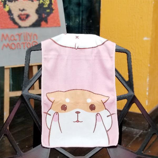 萌動物舉手投降洗臉毛巾(白貓)
