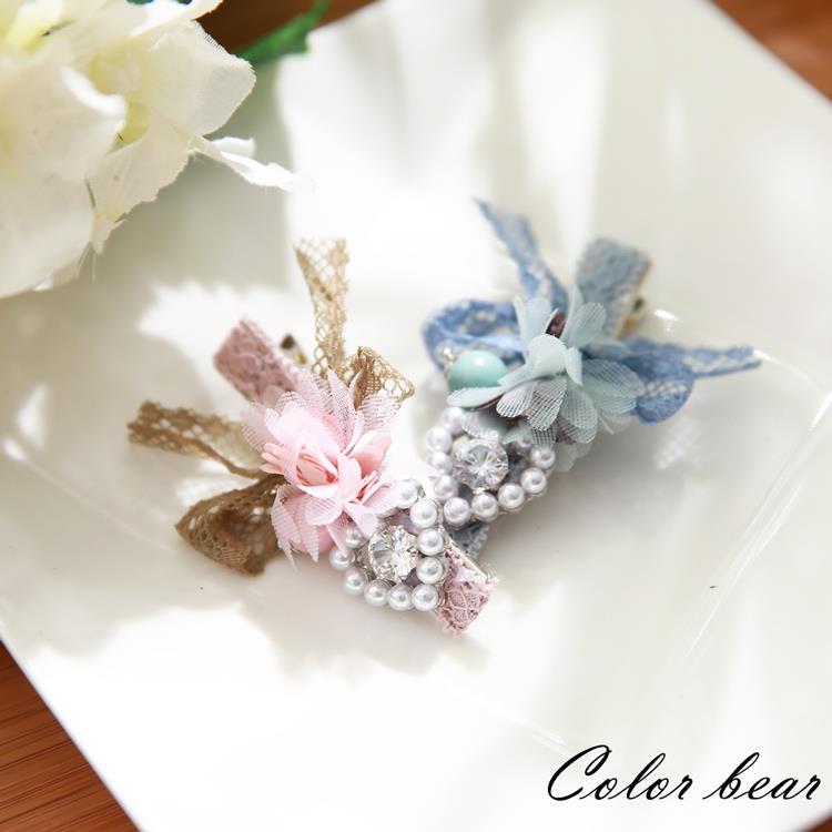 【卡樂熊】優雅夢幻蕾絲花朵造型髮夾(兩色)