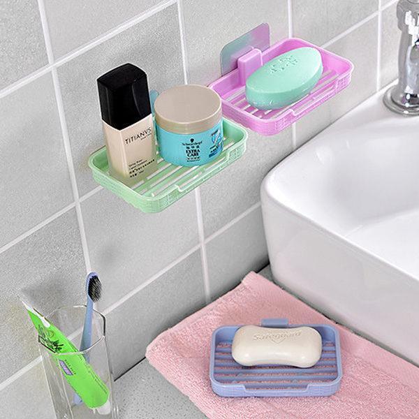 橫線條長方形無痕肥皂架(粉色)