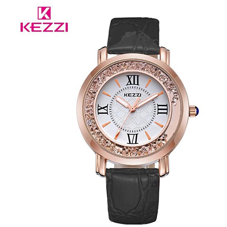 【17mall】珂紫KEZZI羅馬復古創意流沙水鑽皮帶石英手錶