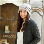 日本(QUEEN-HEAD) 抗寒保暖時尚設計刺繡針織耳帽(079淺灰色)