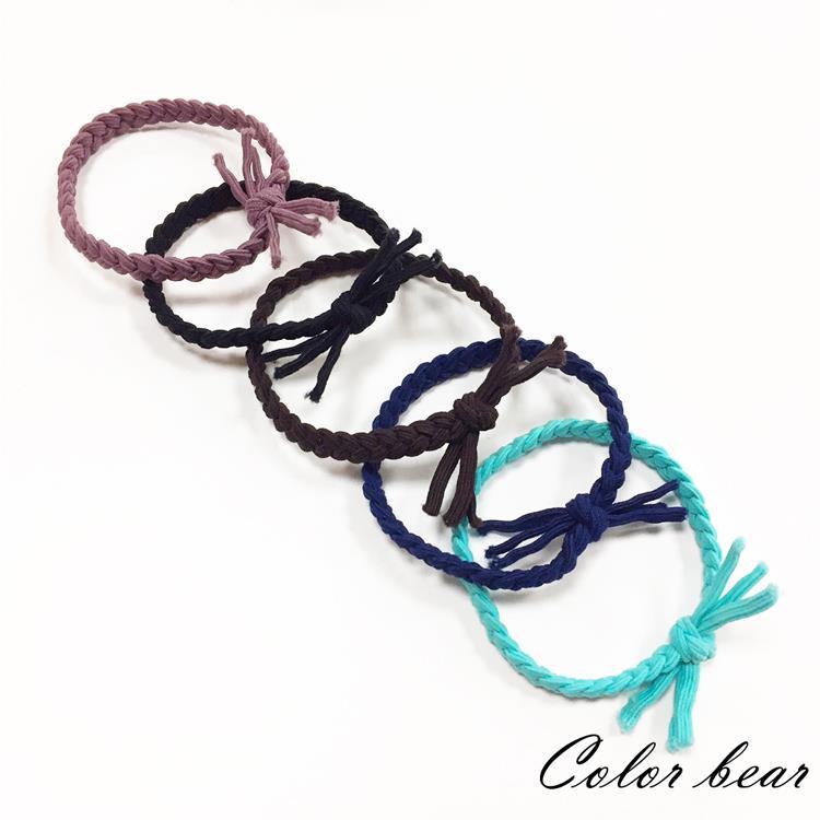 【卡樂熊】基本百搭手工編織麻花髮束/髮圈(十入組)-多色