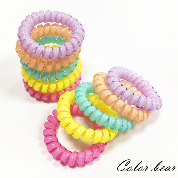 【卡樂熊】純色馬卡龍電話線髮圈/髮束(10入組)-多色