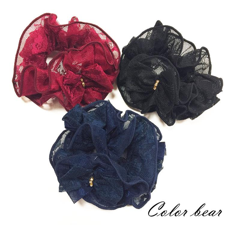 【卡樂熊】韓版氣質蕾絲花造型圈束/腸束(三色)-黑色
