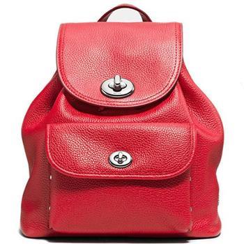 COACH 皮革雙旋釦前口袋後背包-紅 (現貨+預購)
