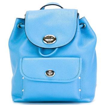 COACH 皮革雙旋釦前口袋後背包-藍 (現貨+預購)