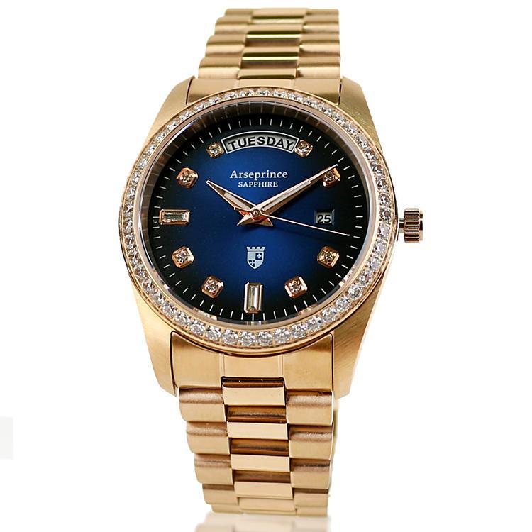 Arseprince -雍容華貴日誌型立體鑲鑽中性錶-深藍