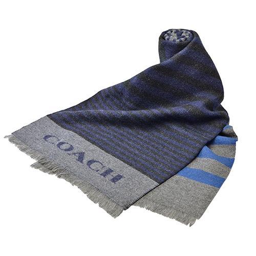 【任選】COACH 不規則雙色條紋羊毛圍巾(現貨+預購)