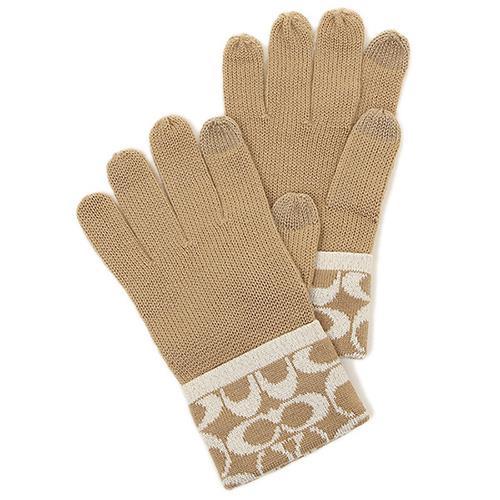 【COACH】保暖針織手套-駝色(現貨+預購)