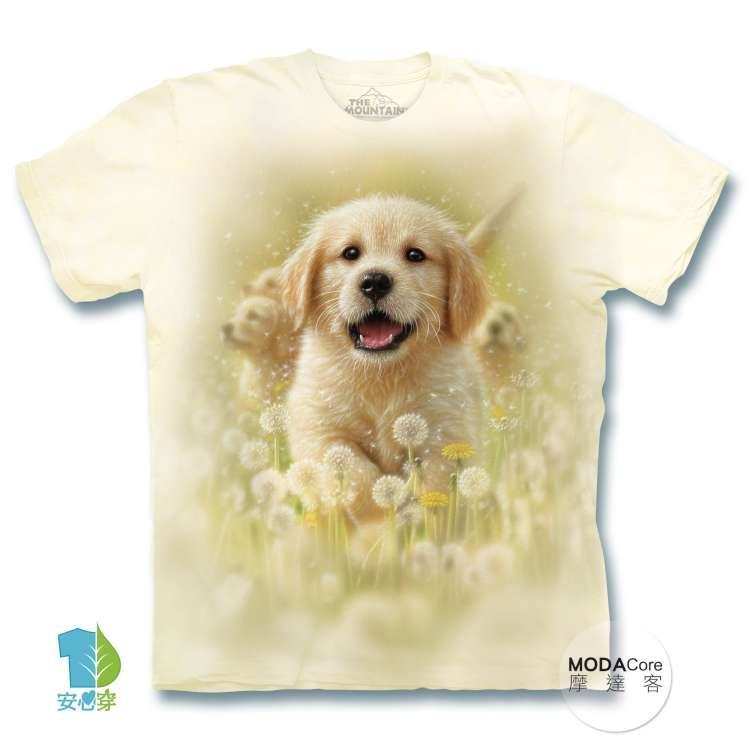 【摩達客】(預購)美國進口The Mountain  微笑小黃金獵犬 純棉環保藝術中性短袖T恤