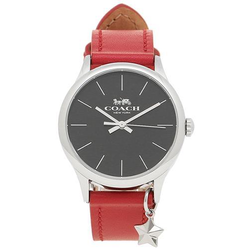 COACH 時尚吊飾點綴皮革腕-紅色(現貨+預購)