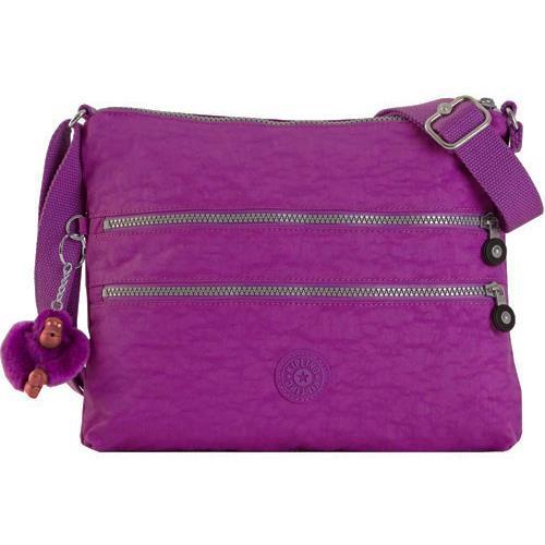 KIPLING 雙拉鍊尼龍肩背/斜背包-紫色花園 (現貨+預購)