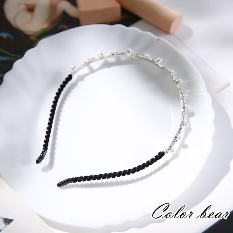 【卡樂熊】絕美波浪珍珠鑽造型髮箍-珍鑽