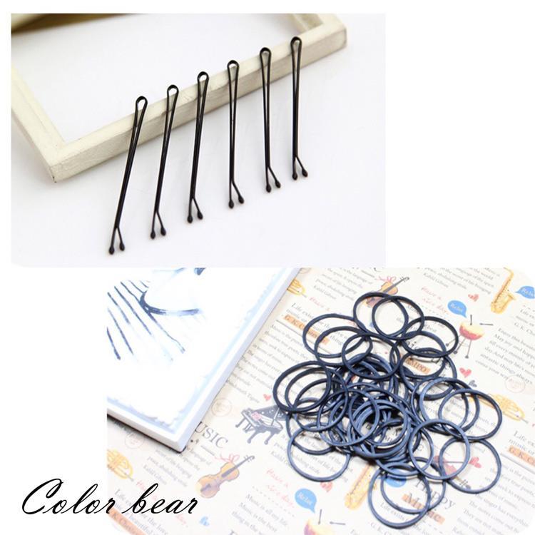 【卡樂熊】超值美髮專用基本純黑橡皮筋+黑毛夾組合包