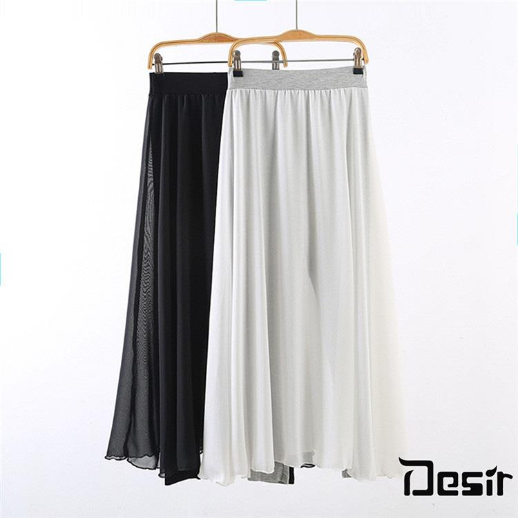 Desir 韓版超顯瘦大尺碼珍珠雪紡紗褲裙