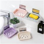 笑臉長方形無痕肥皂架 香皂盒-米