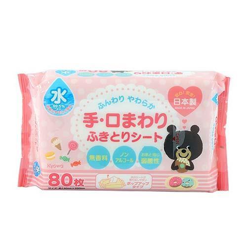 【WAVA】日本KYOWA兒童用品嬰幼兒手部口部濕紙巾80枚裝