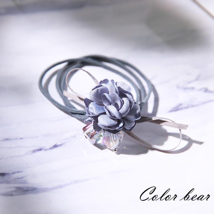 【卡樂熊】玫瑰物語蝶結造型髮束-灰藍色