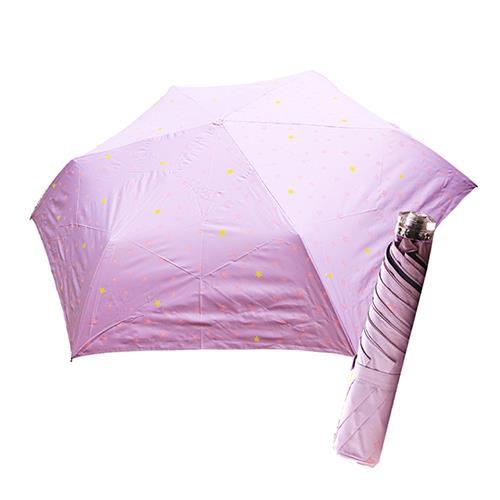 舒亦媚-抗UV防曬三折晴雨傘(閃亮星星-紫底粉星)