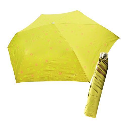 舒亦媚-抗UV防曬三折晴雨傘(甜心-綠底桔心)