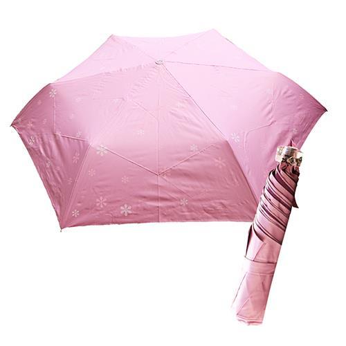 舒亦媚-抗UV防曬三折晴雨傘(雪花-粉底白花)