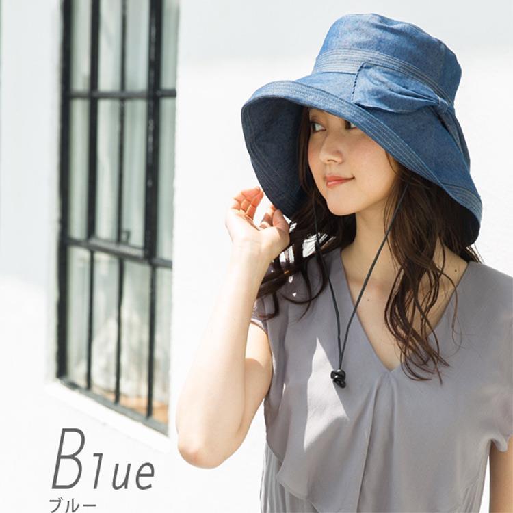 QUEEN-HEAD)日本抗UV抗強風蝴蝶結大寬緣防曬帽(7026藍)
