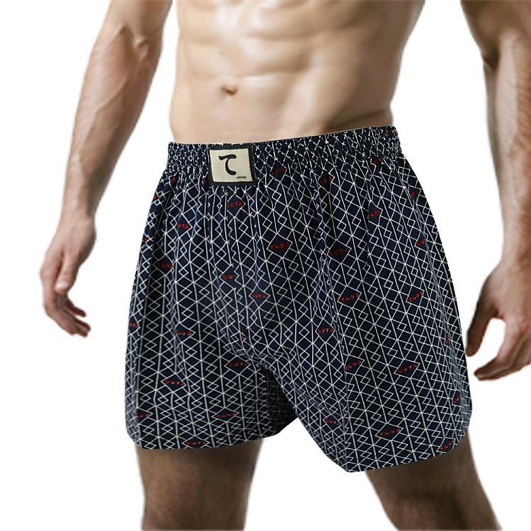 【天皇】舒適悠閒-有稜有角平口褲-深藍色