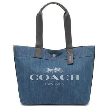 【COACH】扣式牛仔托特包-藍色(現貨+預購)