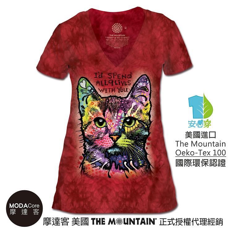 【摩達客】(預購)美國The Mountain都會系列 九命小紅貓 V領藝術修身女版短袖T恤