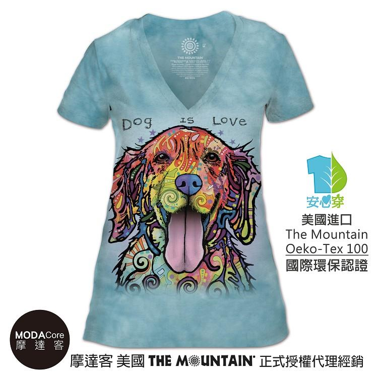 【摩達客】(預購)美國The Mountain都會系列 彩繪開心黃金獵犬 V領藝術修身女版短袖T恤