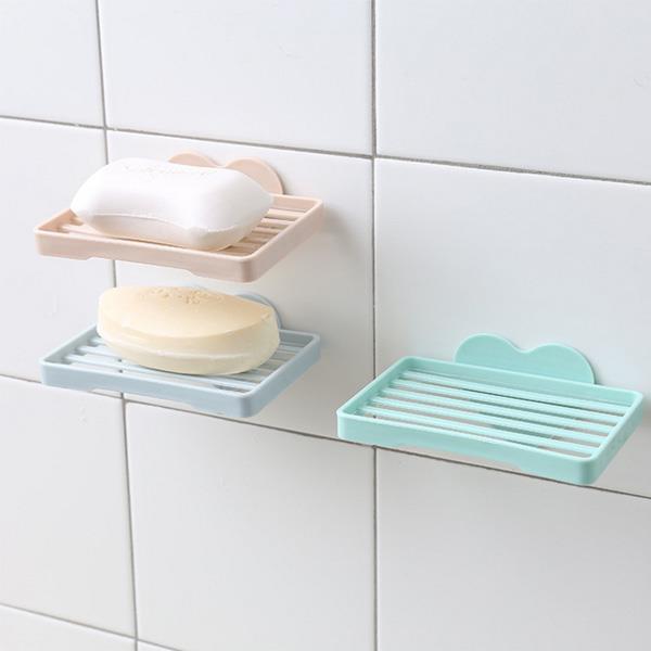 愛心造型無痕肥皂架 香皂盒(粉色)
