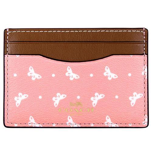 COACH 防刮皮革票卡夾-粉紅(現貨+預購)