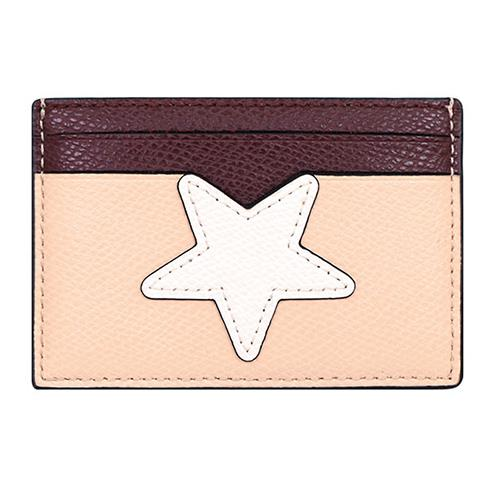 COACH 造型皮革拼接票卡夾-星星(現貨+預購)