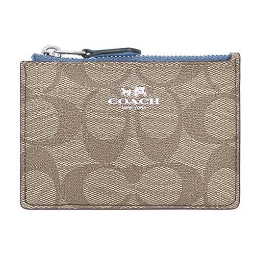 COACH 防刮皮革零錢∕鑰匙包-卡其淺藍(現貨+預購)