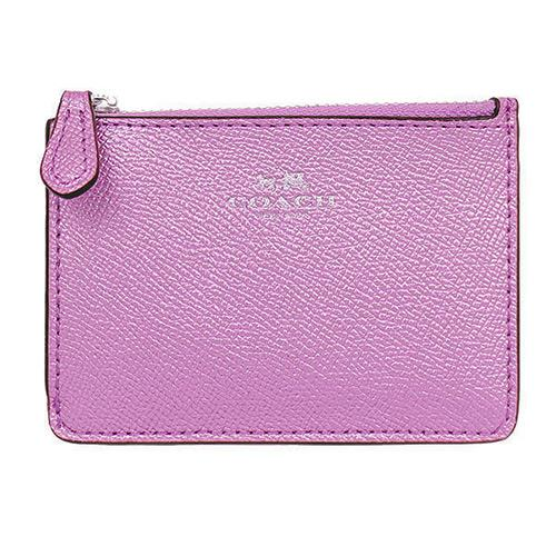 COACH 防刮皮革鑰匙零錢包-金屬粉紫(現貨+預購)