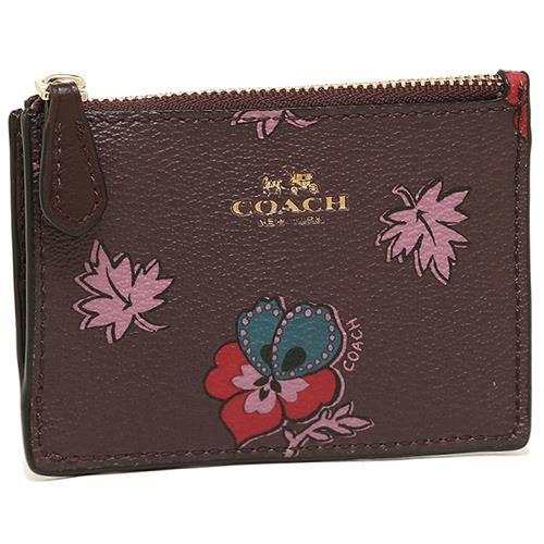 COACH 花朵皮革拉鍊零錢包-紫紅(現貨+預購)