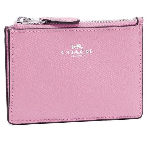 COACH 防刮皮革零錢/鑰匙包-粉紫(現貨+預購)