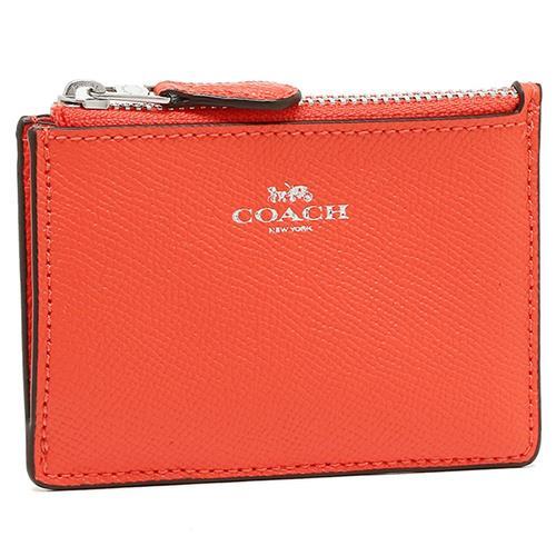 COACH 防刮皮革零錢/鑰匙包-桔紅(現貨+預購)