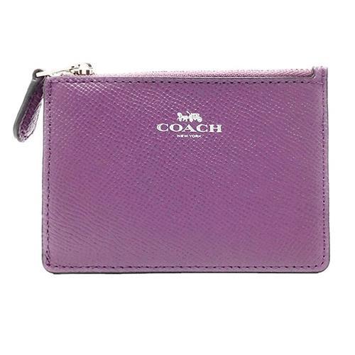 COACH 防刮皮革零錢/鑰匙包-紫(現貨+預購)