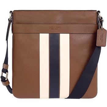 COACH 全皮夾層袋斜背包-駝底白條紋