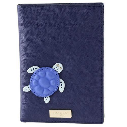 KATE SPADE 防刮皮革立體烏龜護照夾-藍紫(現貨+預購)