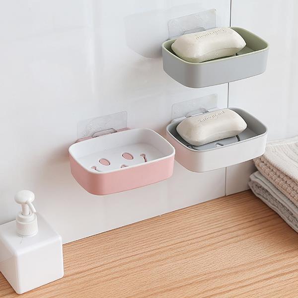 雙色笑臉迎人瀝水無痕肥皂架 香皂盒(白色)
