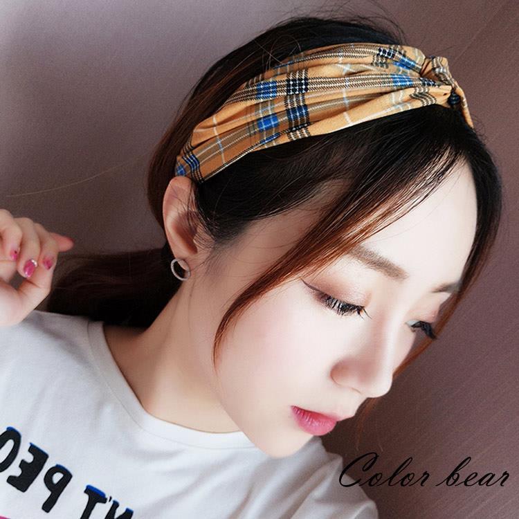 【卡樂熊】復古經典格紋造型髮帶(兩色)