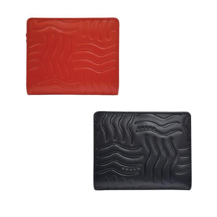 [美國百年精品 CROSS] 經典小牛皮6卡女用短夾(紅/黑)