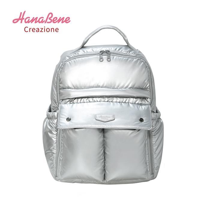 【虎兒寶】Hana Bene 花花班尼 極輕感大後背 全開式14格層防潑水空氣包-2件組-時尚銀