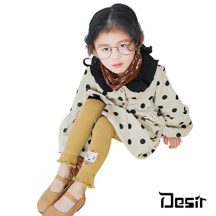 Desir-兒童保暖可愛動物刺繡綿質九分保暖打底褲襪1雙