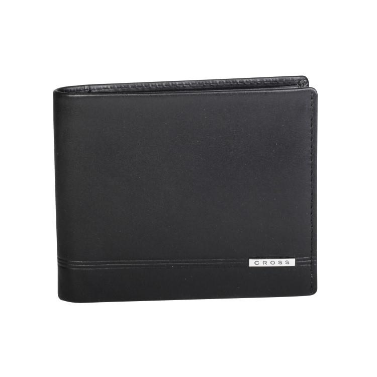 [美國百年精品 CROSS] 經典頂級小牛皮3卡1零錢袋男用皮夾(黑 8067N-1)