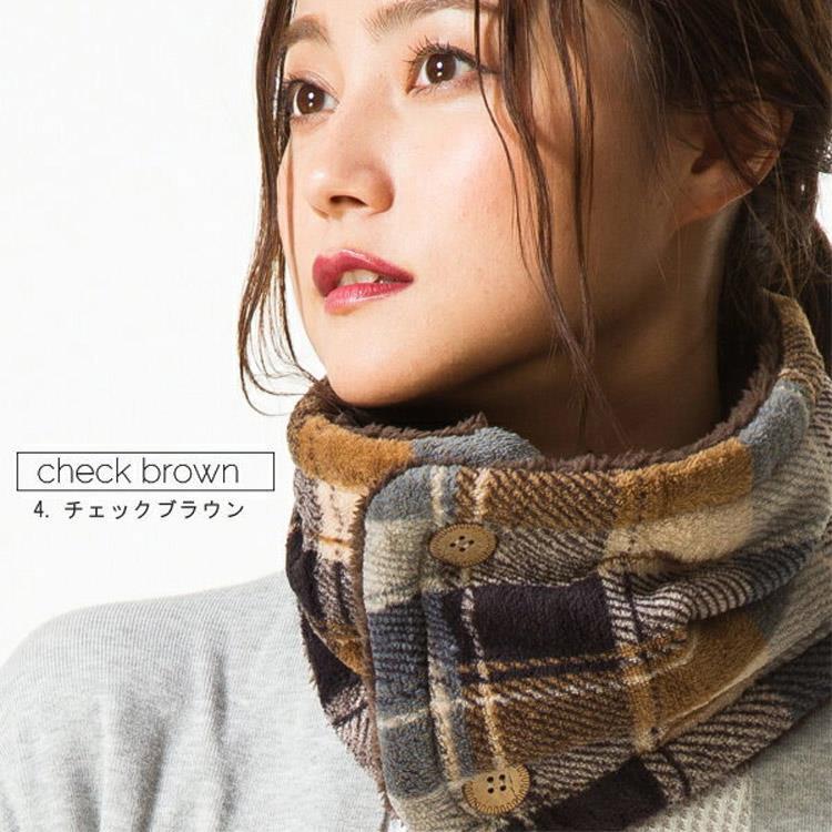 日本(QUEENHEAD)  即暖抗寒保暖圍脖-日系藍棕格绫紋