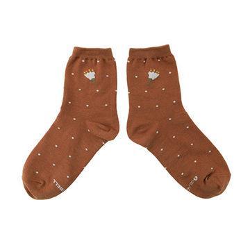 韓國GRACEBELL-女生的中筒襪03.棕色點點