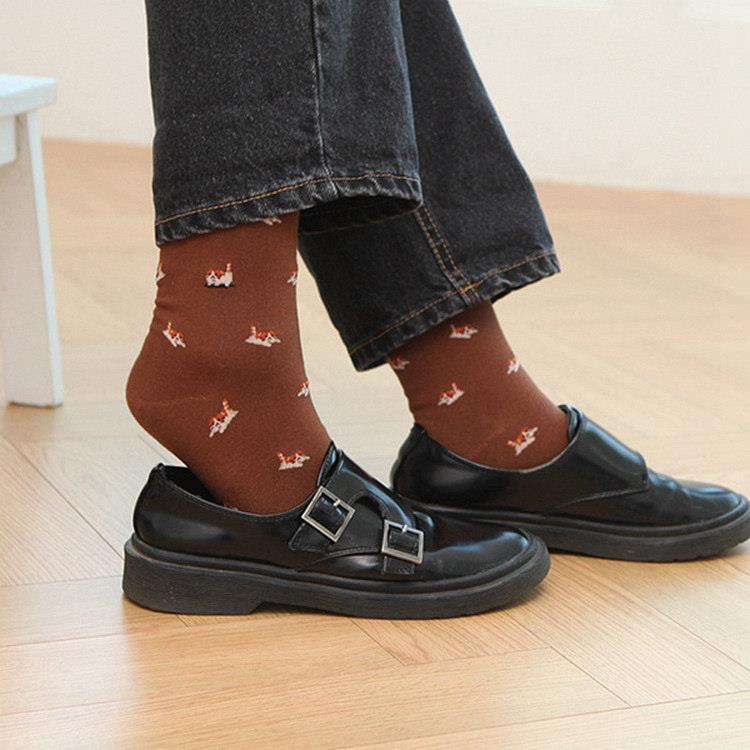 韓國GRACEBELL-女生的中筒襪06.咖啡色路易斯